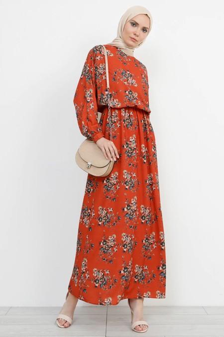 Refka Çiçek Desenli Tarçın Elbise