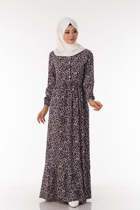Siyah Papatya Desen Elbise