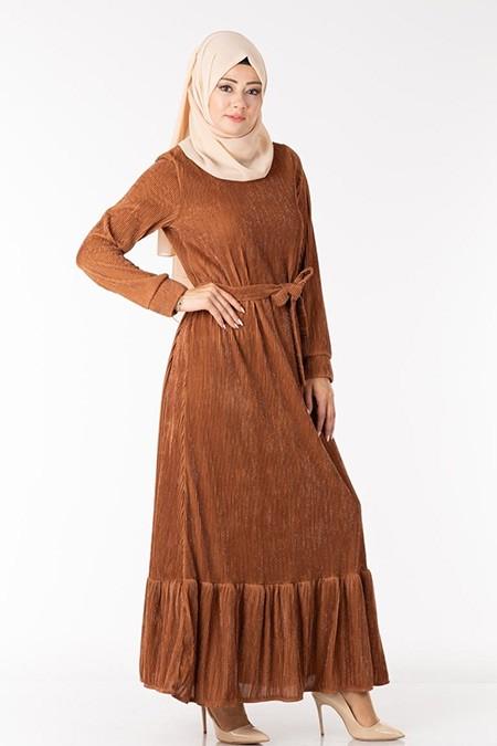 Tarçın Simli Astarlı Elbise