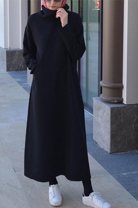 Bellis Store Siyah Asimetrik Elbise