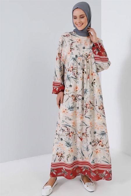 Benin Bej Yarasa Kollu Desenli Salaş Elbise