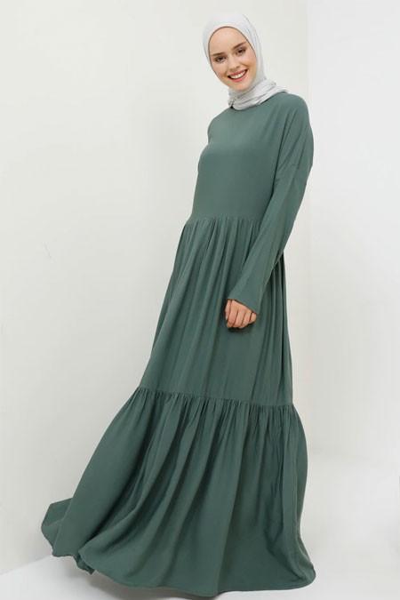 Benin Orman Yeşili Doğal Kumaşlı Elbise