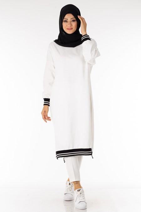 Beyaz Ribanalı Tesettür Tunik