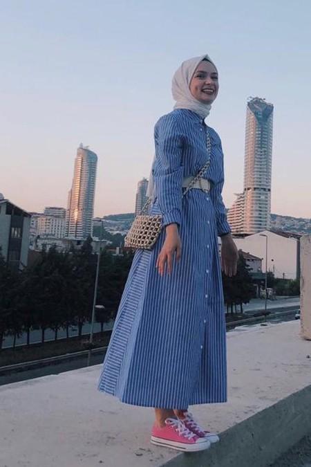 Eda Atalay İndigo Mavi Çizgili Gömlek Elbise