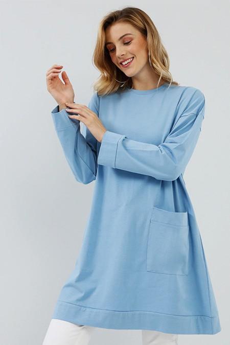 Everyday Basic Açık İndigo Doğal Kumaşlı Cep Detaylı Tunik