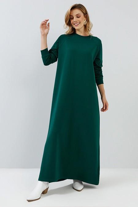 Everyday Basic Koyu Yeşil Düz Renk Spor Elbise