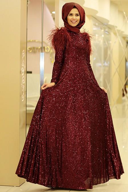 Gamze Özkul Bordo Zara Abiye Elbise