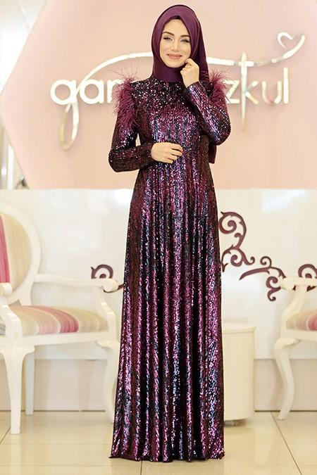 Gamze Özkul Mor Pırlanta Abiye Elbise
