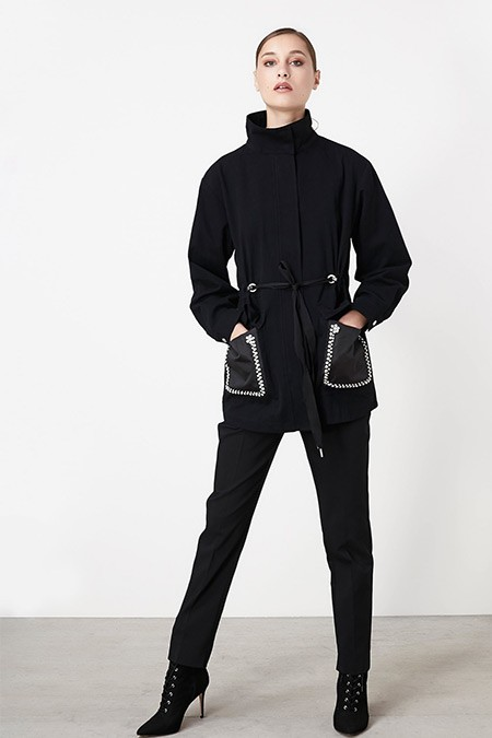 Ipekyol Siyah Taş Şeritli Ayarlanabilir Bel Parka