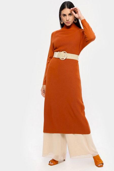 MY CITY Mercan Triko Tunik Elbise
