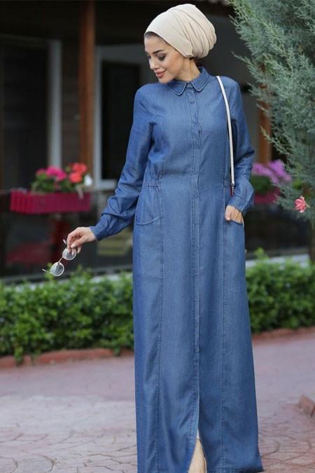 Neways Mavi Tesettür Elbise