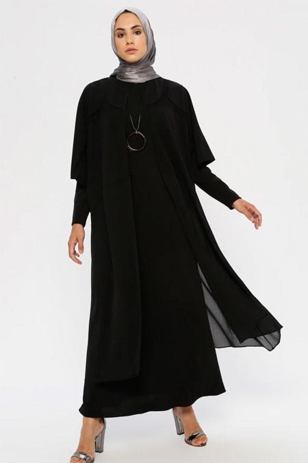 Puane Siyah Kimono & Elbise İkili Takım