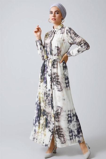 Refka Ekru Boydan Gizli Düğmeli Batik Desenli Elbise