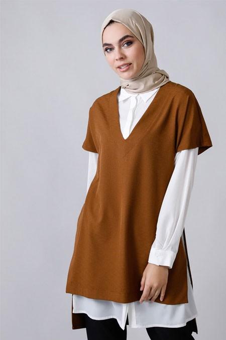 Refka Kahverengi Gömlek & Tunik İkili Takım