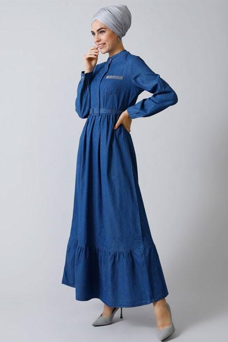 Refka Mavi Doğal Kumaşlı Drop Baskılı Kot Elbise