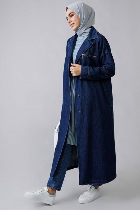 Refka Mavi Doğal Kumaşlı Kot Ceket