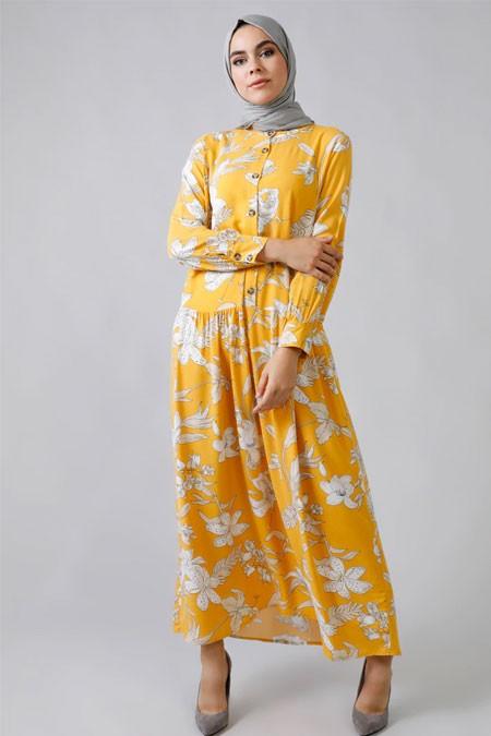 Refka Sarı Doğal Kumaşlı Çiçekli Elbise
