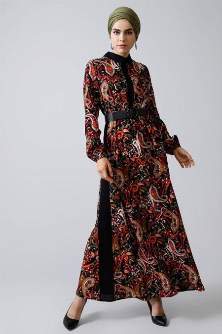 Refka Siyah Doğal Kumaşlı Şal Desenli Elbise