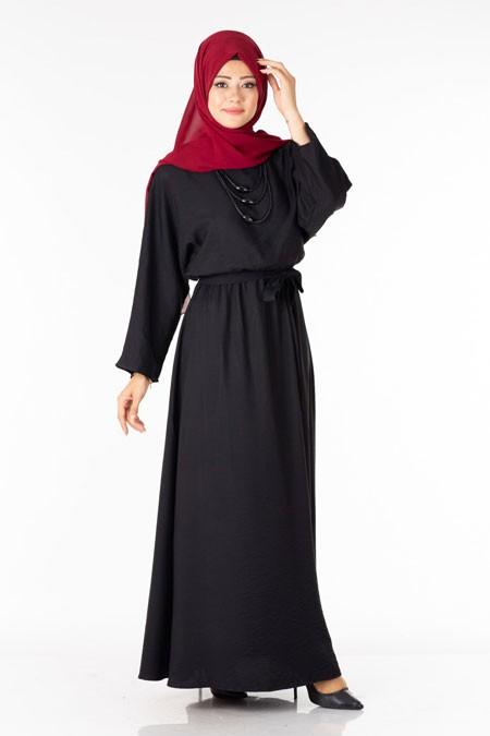Siyah Kolyeli Tesettür Elif Elbise
