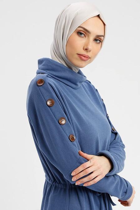 Tavin Lacivert Düğme Detaylı Elbise