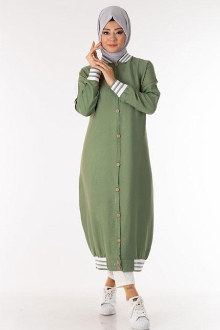 Yeşil Düğmeli Şeritli Tesettür Tunik