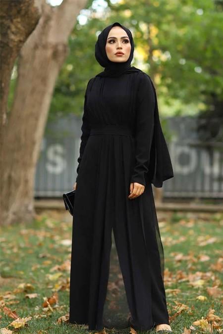 Elif & Co Siyah Tül Detaylı Tesettür Tulum