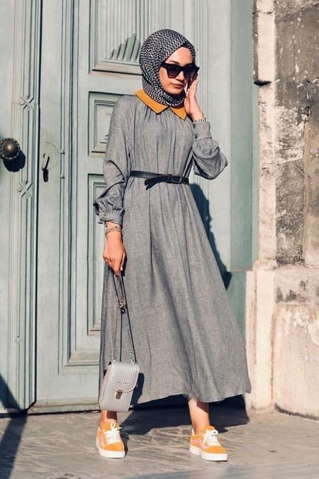 Kuaybe Gider Gri Yünlü Elbise
