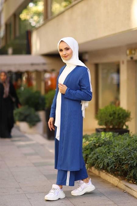 ModaBahar Mavi Çizgili Pul Şeritli İkili Tesettür Takım