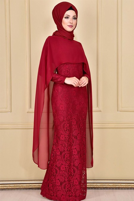 Modamerve Bordo Şifon Pelerinli Abiye Elbise