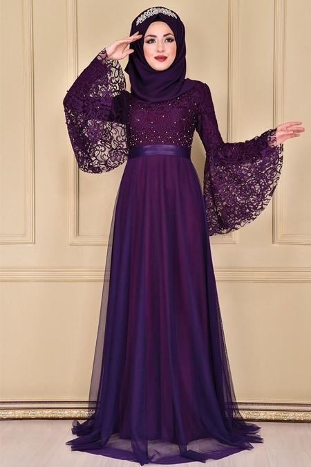 Modamerve Mor Taş Detaylı Dantel Abiye Elbise