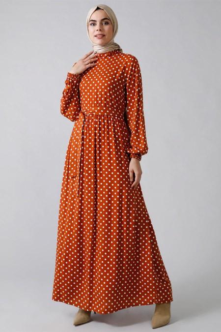 Refka Tarçın Doğal Kumaşlı Puantiyeli Elbise