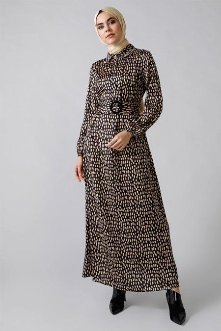 Refka Siyah Düğme Detaylı Kemerli Elbise