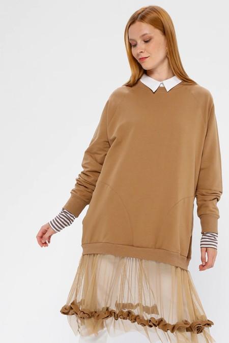 SOUL Bej Eteği Tüllü Cep Detaylı Sweatshirt