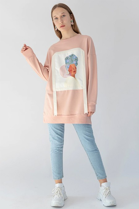 SOUL Pudra Portre Detaylı Sweatshirt