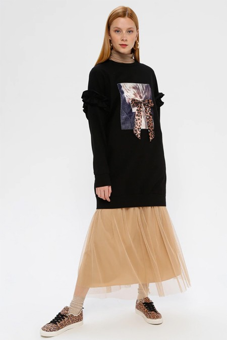 SOUL Siyah Fırfır Detaylı Baskılı Sweatshirt