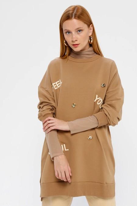 SOUL Taba Taş Detaylı Sweatshirt