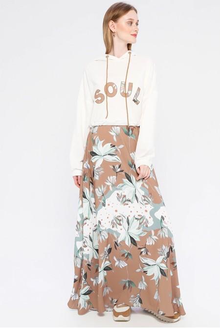 SOUL Toprak Kapüşon Detaylı Garnili Elbise