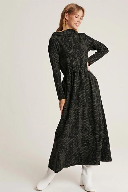 Muni Muni Haki Jakarlı Beli Büzgülü Elbise