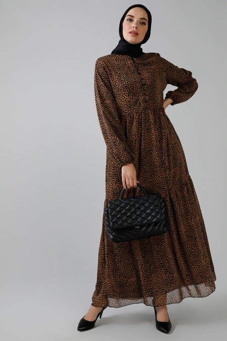 Refka Kahverengi Leopar Desenli Şifon Elbise