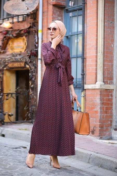 Esra Keküllüoğlu Bordo Elbise