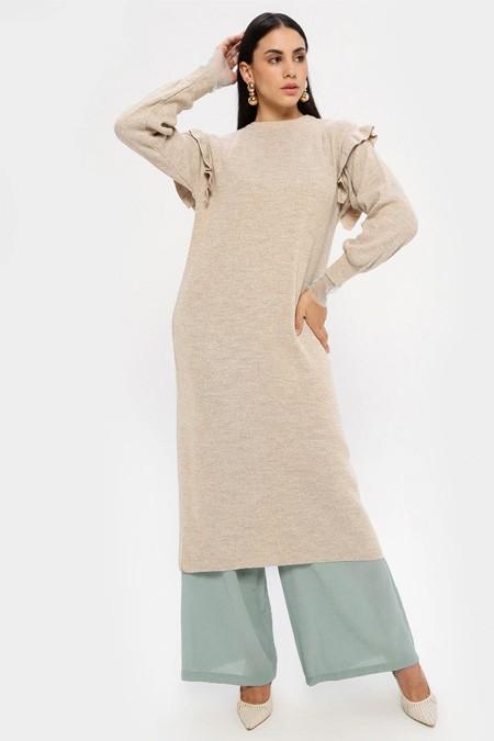 MY CITY Bej Triko Tunik Elbise