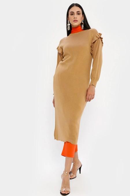 MY CITY Camel Triko Tunik Elbise