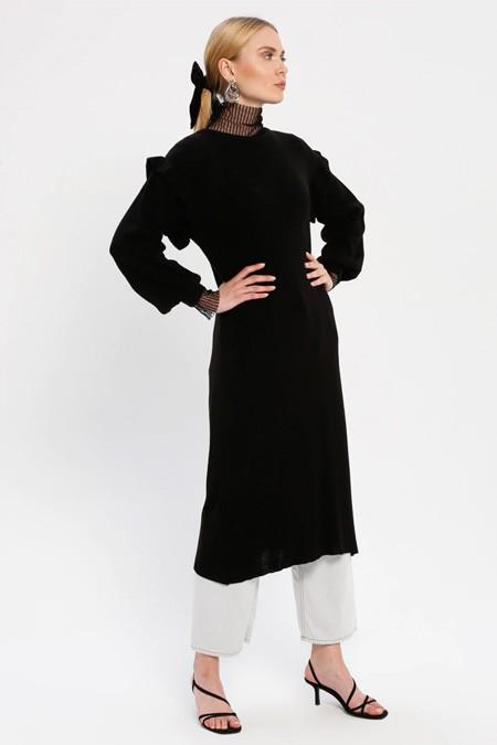 MY CITY Siyah Triko Tunik Elbise