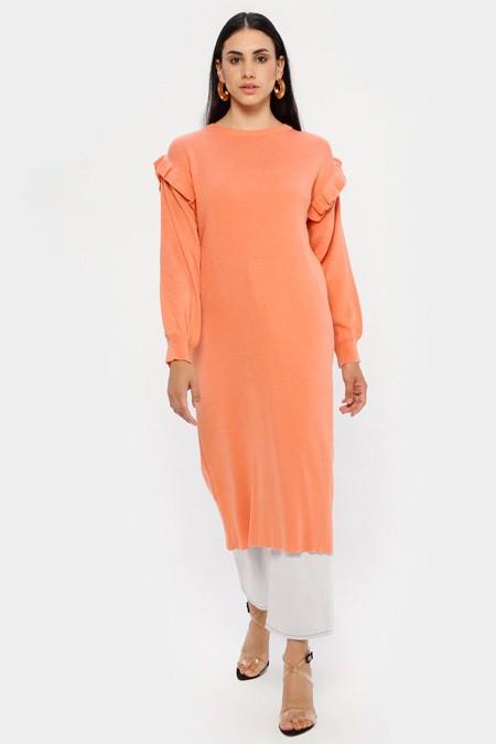 MY CITY Yavruağzı Triko Tunik Elbise