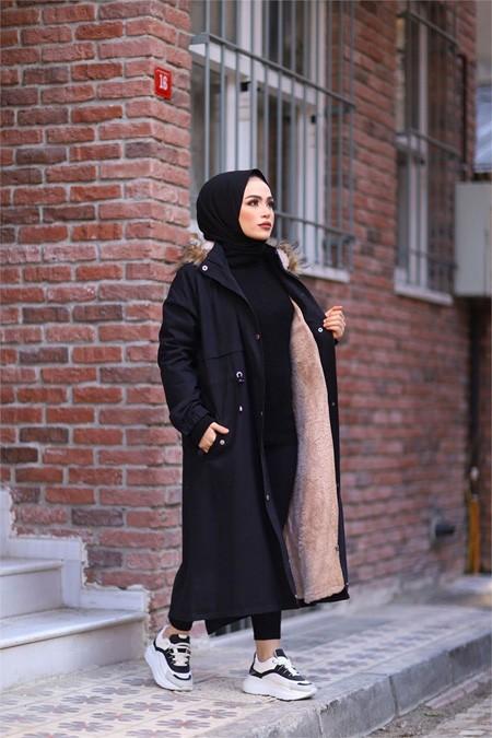 ModaBahar İçi Peluş Kürklü Tesettür Kaban