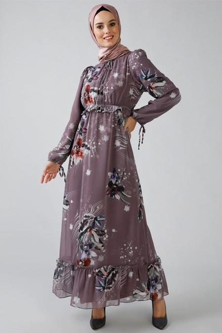Refka Gül Kurusu Desenli Şifon Elbise