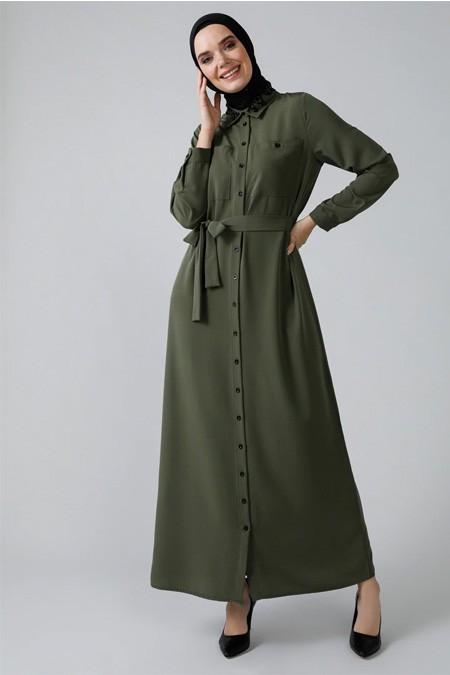 Refka Haki Yakası Boncuk İşlemeli Boydan Düğmeli Elbise