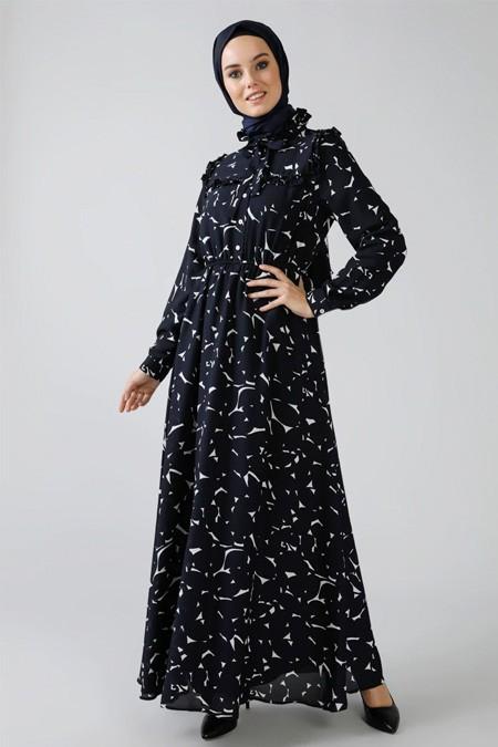 Refka Lacivert İnci Detaylı Volanlı Elbise