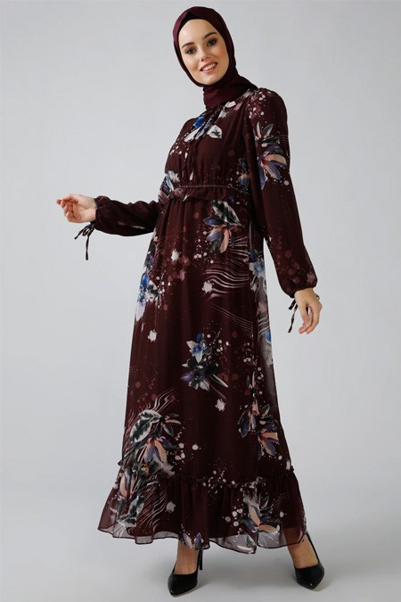 Refka Mürdüm Desenli Şifon Elbise