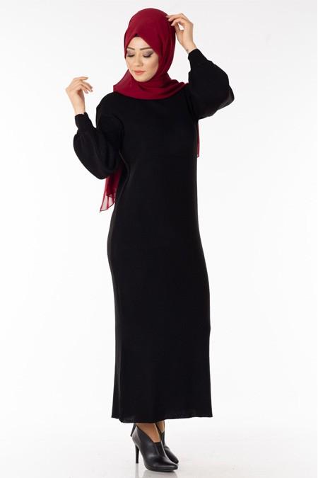 Siyah Balon Kol Tesettür Elbise